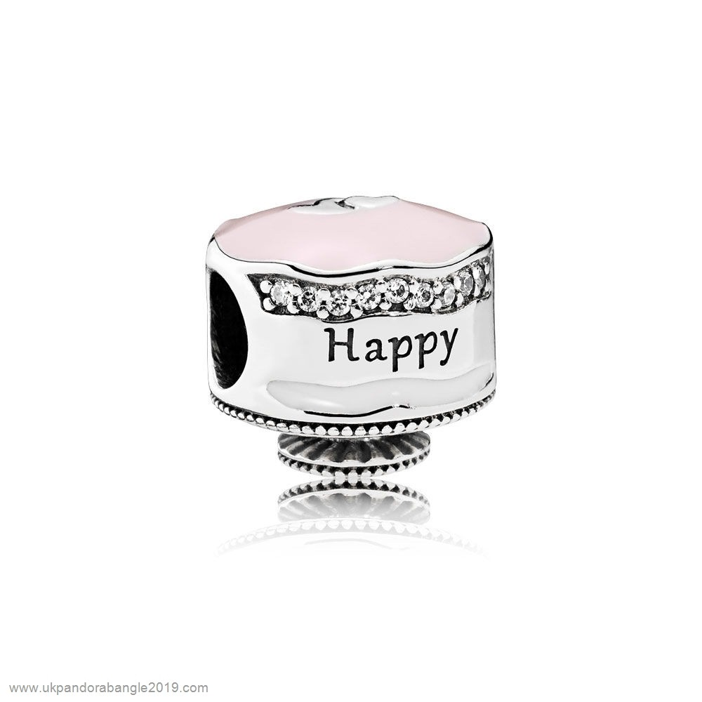 Authentic Pandora Pandora Birthday Charms Happy Birthday Cake Charm Mixed Enamel Clear Cz
