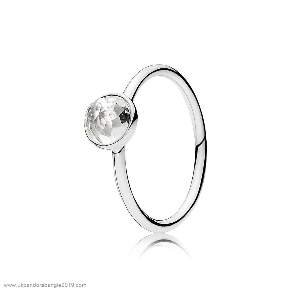 Authentic Pandora Pandora Rings April Droplet Ring Rock Crystal