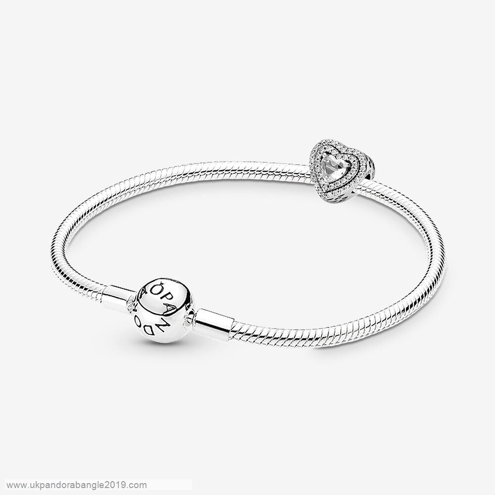 Authentic Pandora Layered Heart Silver Bracelet & Charm Gift Set