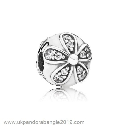 Authentic Pandora Pandora Clips Charms Dazzling Daisies Clip Clear Cz