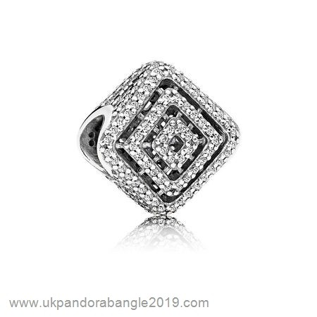 Authentic Pandora Pandora Contemporary Charms Geometric Lines Charm Clear Cz
