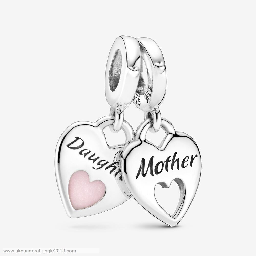 Authentic Pandora Mother & Daughter Double Heart Split Dangle Charm