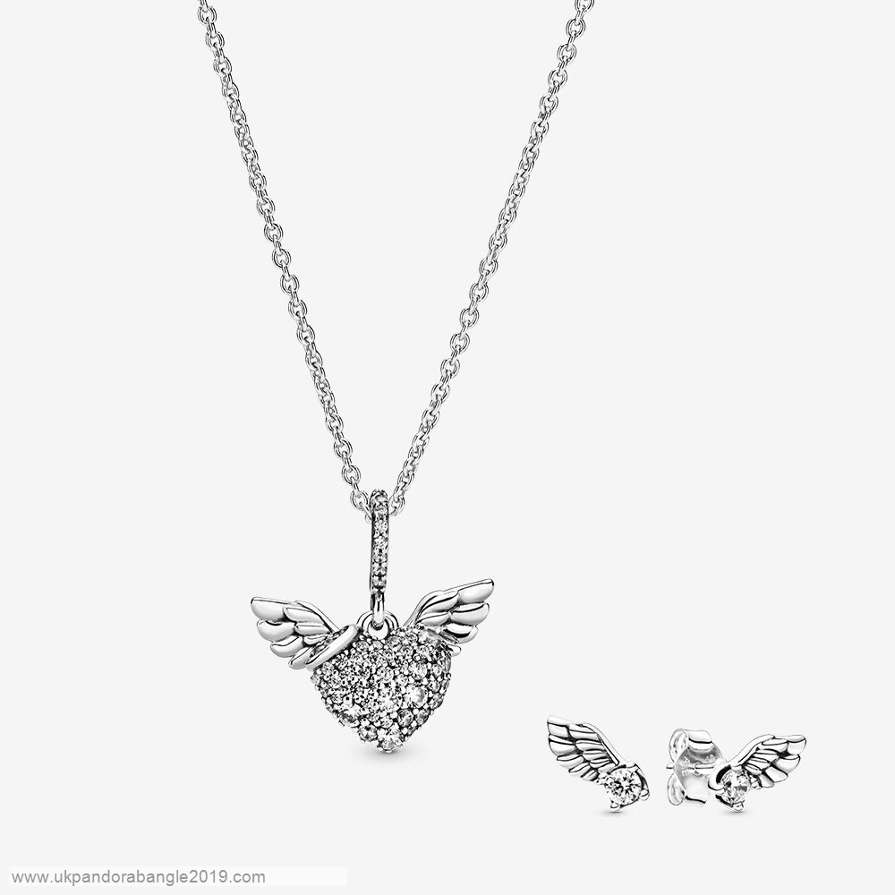 Authentic Pandora Sparkling Angel Wing Necklace & Earrings Set