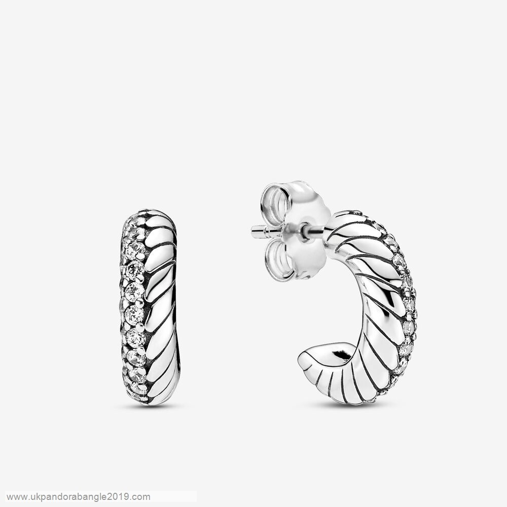 Authentic Pandora Pavé Snake Chain Pattern Hoop Earrings