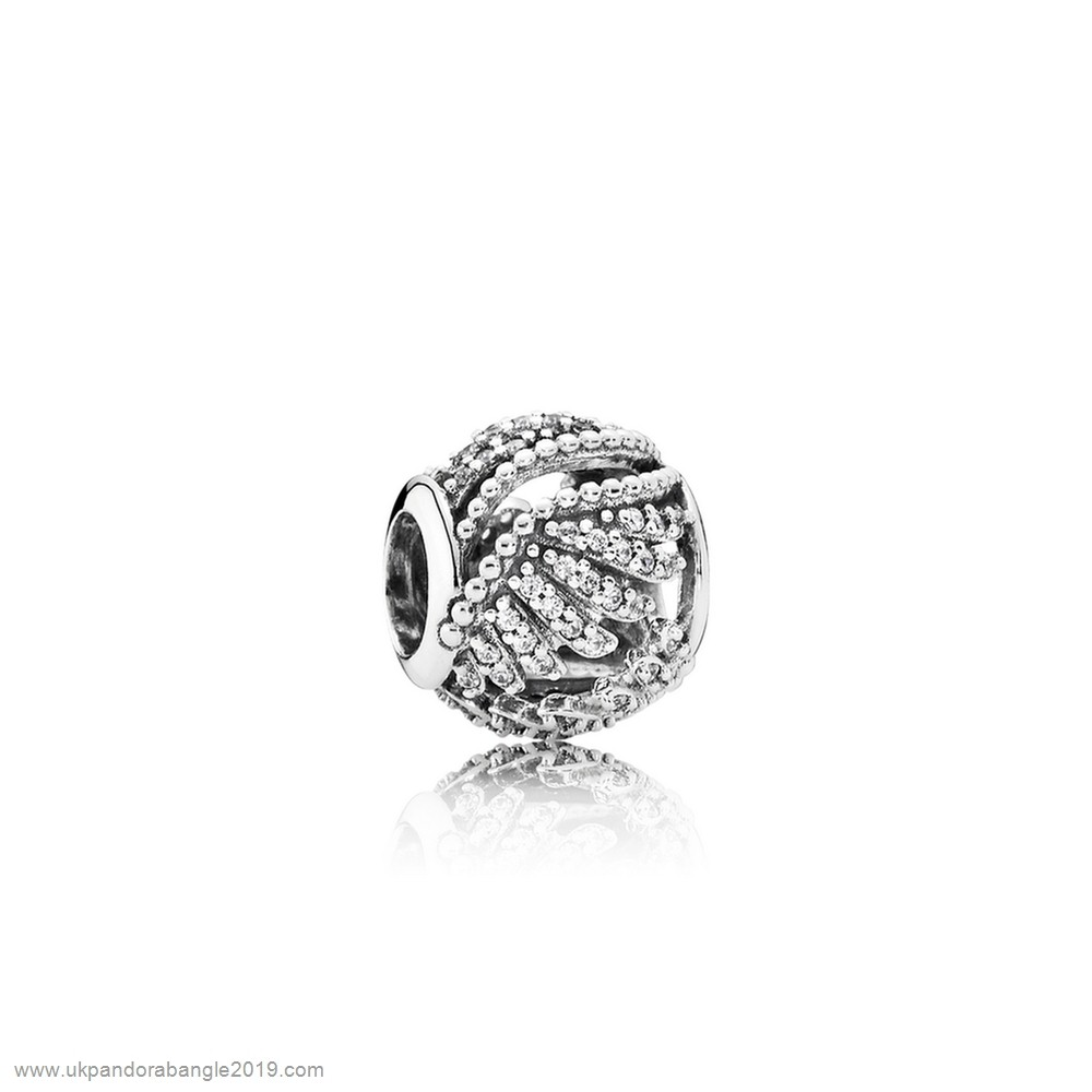 Authentic Pandora Pandora Inspirational Charms Majestic Feathers Clear Cz