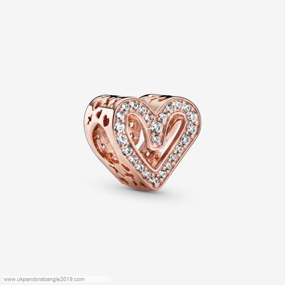 Authentic Pandora Glittering Heart Sketch Charm