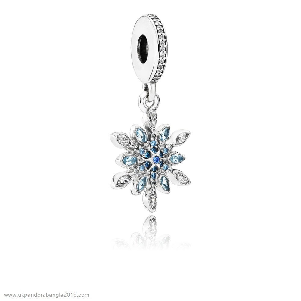 Authentic Pandora Pandora Nature Charms Crystalized Snowflake Pendant Charm Blue Crystals Clear Cz