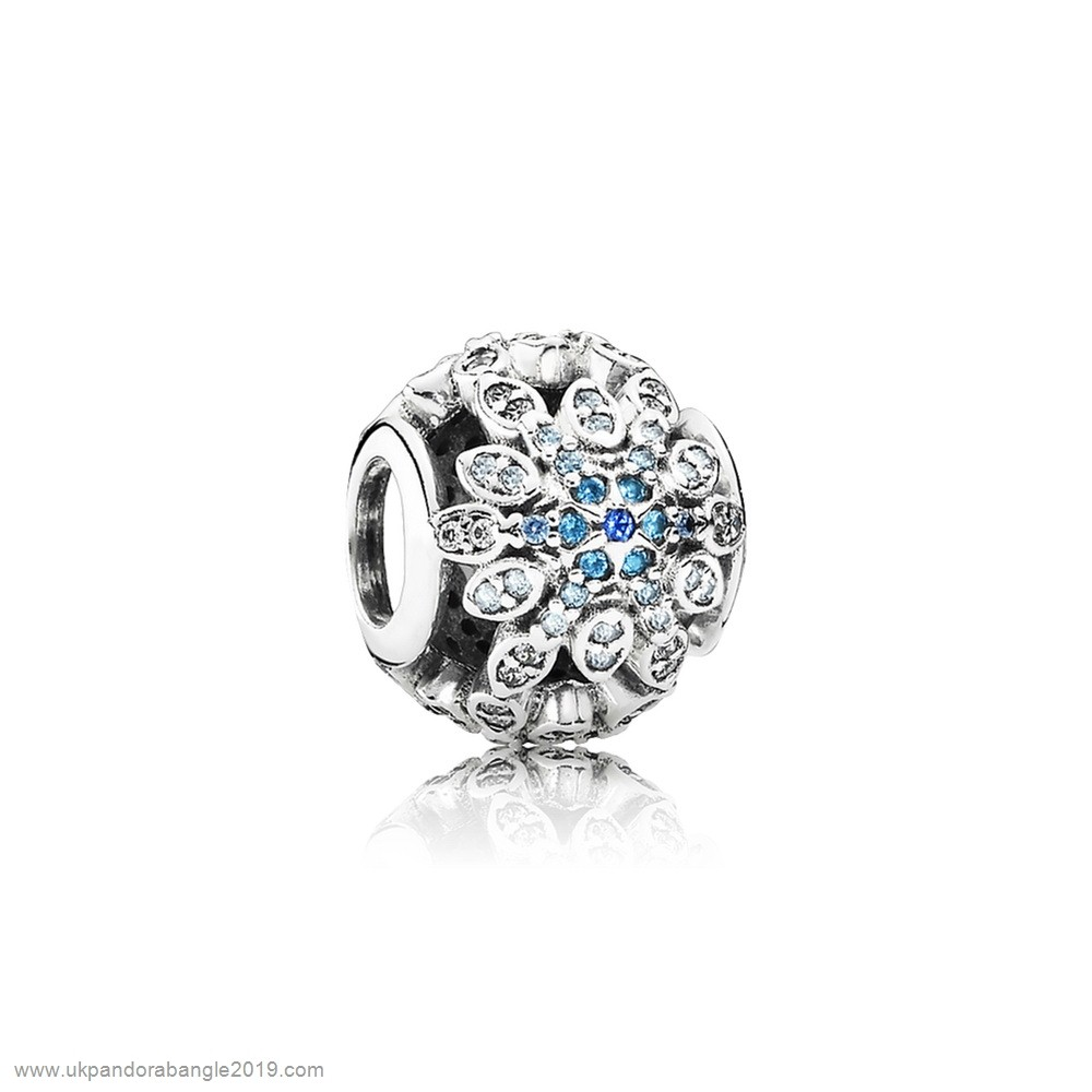 Authentic Pandora Pandora Nature Charms Crystalized Snowflakes Charm Blue Crystals Clear Cz