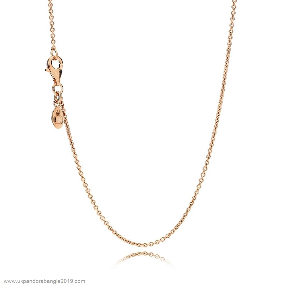 Authentic Pandora Pandora Chains Necklace Chain Sterling Silver 14K Rose Gold
