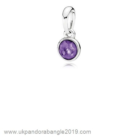 Authentic Pandora Pandora Pendants February Droplet Pendant Synthetic Amethyst