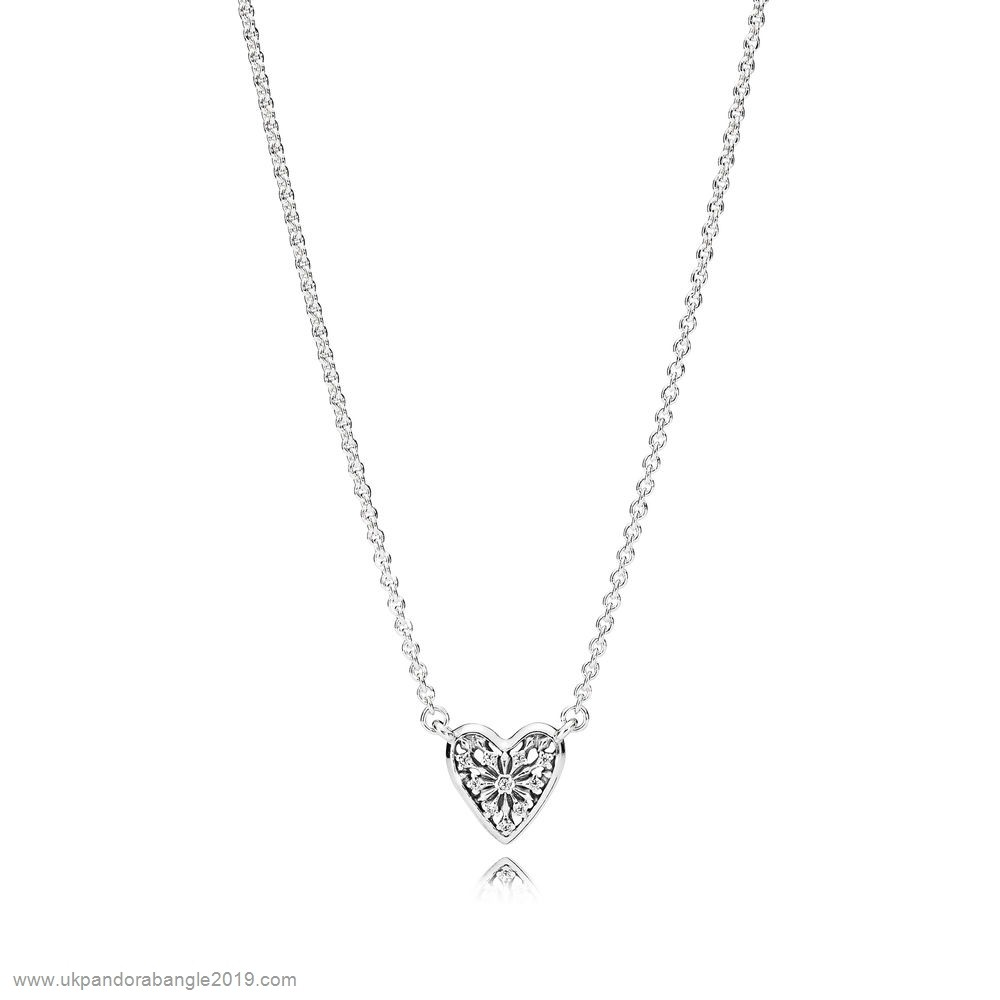 Authentic Pandora Pandora Chains With Pendant Heart Of Winter Necklace Clear Cz