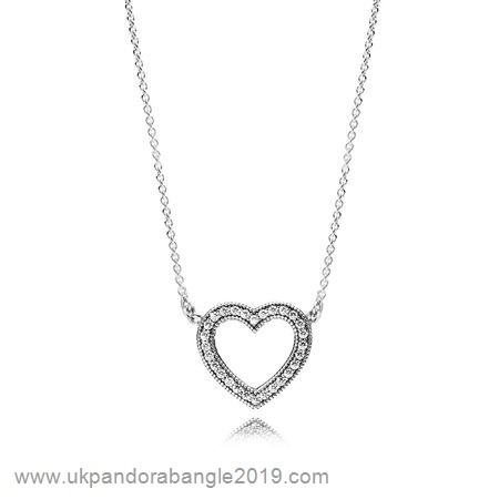 Authentic Pandora Pandora Chains With Pendant Loving Hearts Of Pandora Necklace Clear Cz