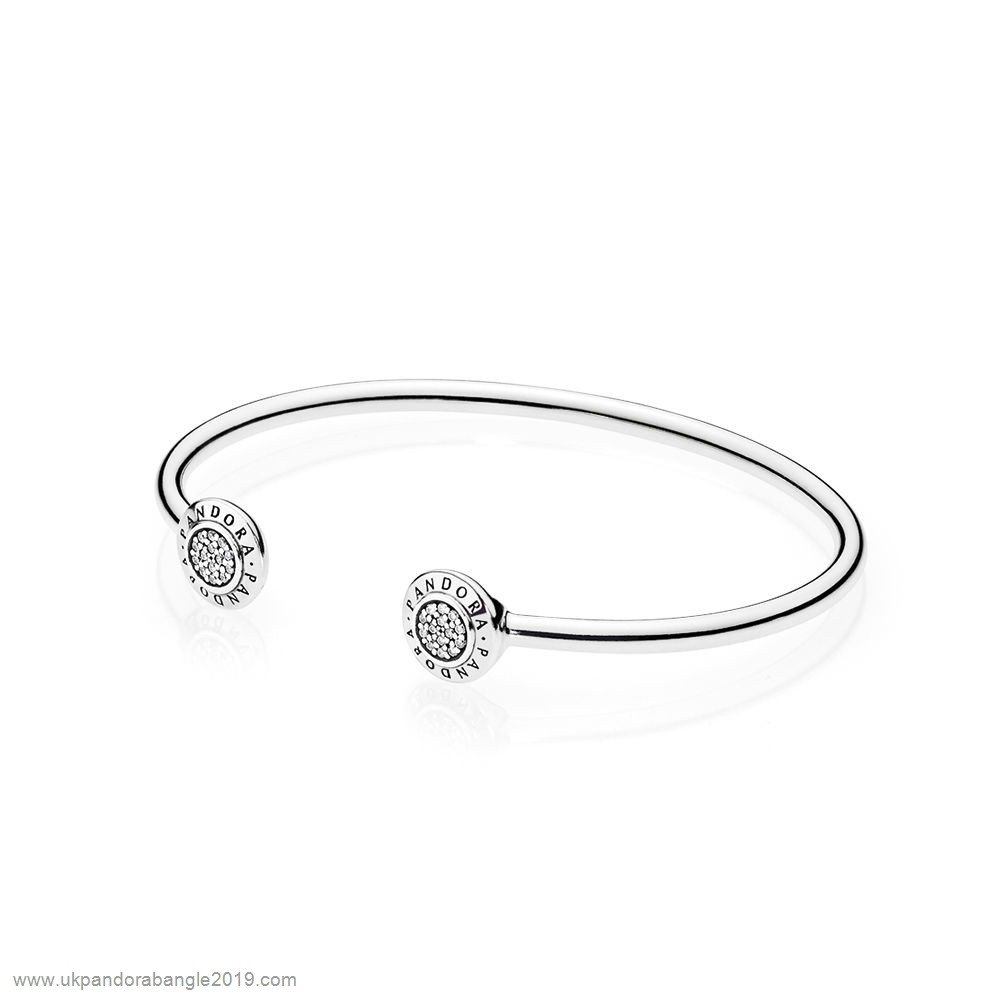 Authentic Pandora Pandora Bracelets Open Banglepandora Signature Bangle Bracelet Clear Cz