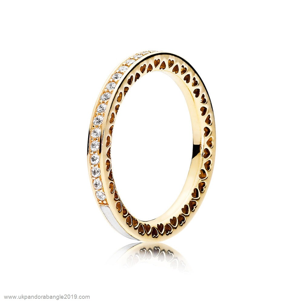 Authentic Pandora Pandora Rings Radiant Hearts Of Pandora Ring 14K Gold Clear Cz