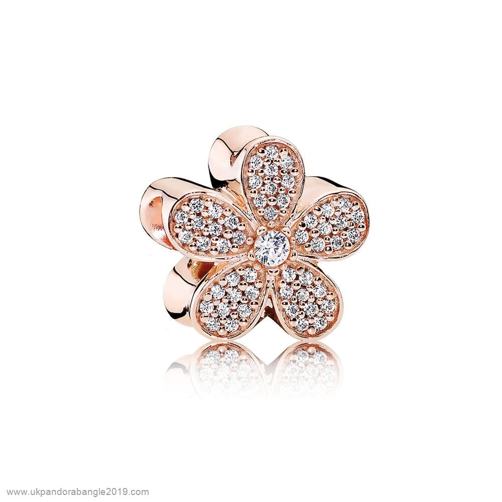 Authentic Pandora Pandora Sparkling Paves Charms Dazzling Daisy Charm Pandora Rose Clear Cz