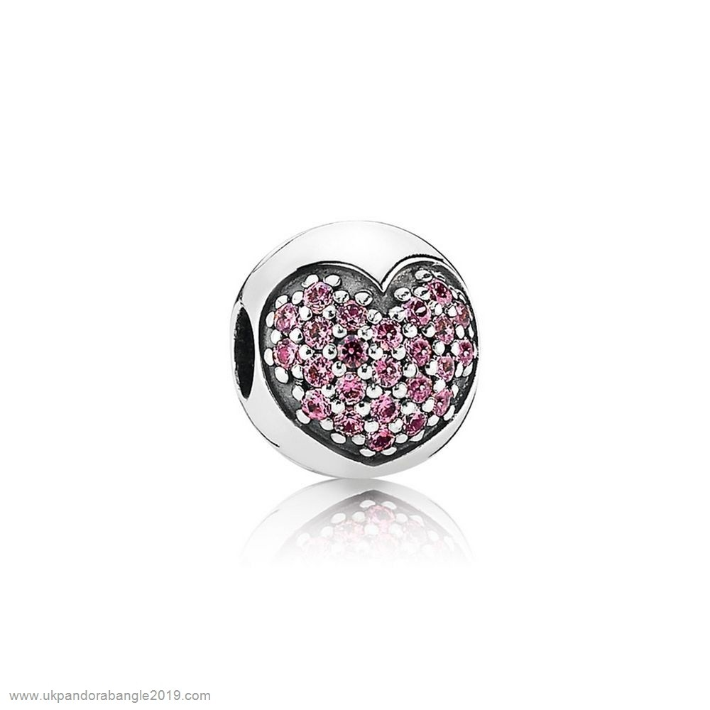 Authentic Pandora Pandora Sparkling Paves Charms Love Of My Life Clip Fancy Pink Cz
