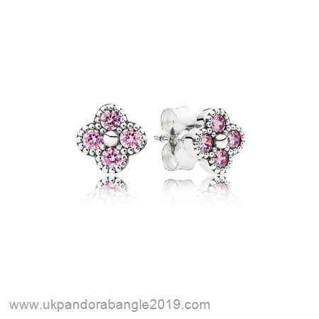 Authentic Pandora Pandora Earrings Oriental Blossom Stud Earrings Pink Cz